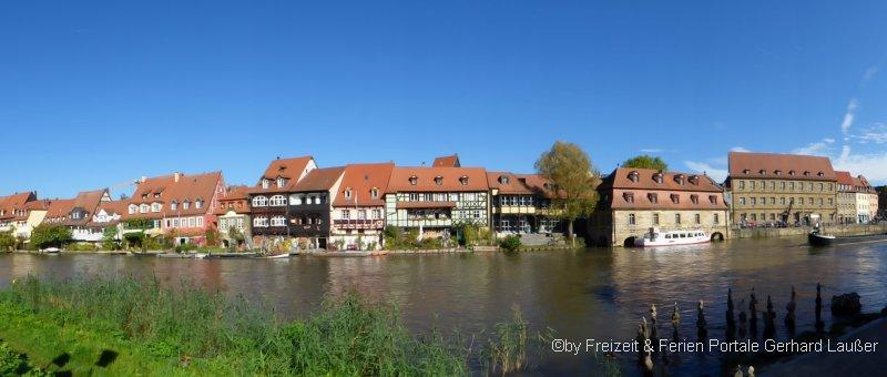 Bamberg klein Venedig Schifffahrt Uferpromenade mit Fachwerkhäusern